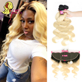 Facebeauty 1B/613 Ombre Blonde Color Peruvian Body Wave 2/3/4 Human Remy hair Extension Bundles With 13x4 Lace Frontal Closure