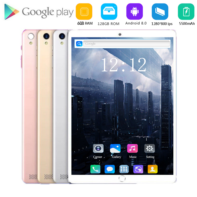2020 Big Capacity 128G Global Bluetooth Wifi Android 8.0 10.1 Inch Tablet Octa Core 6GB RAM 64GB 128GB ROM Dual SIM Cards Tablet