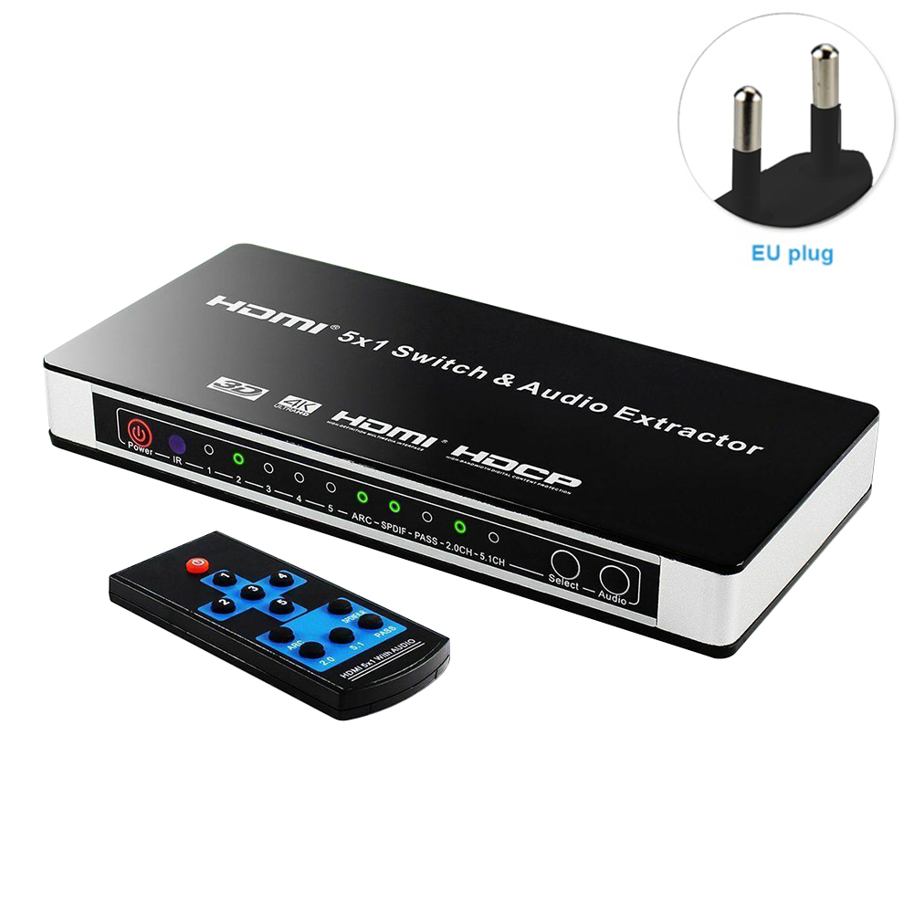 5x1 Power Adapter Video Switcher Home Converter Office TV HDMI Audio Extractor DVD Laptop 4K Remote Control Arc PC 3D