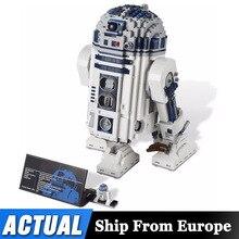لعب النجوم الحروب الفضاء خارج الطباعة R2 D2 روبوت مجموعة اللبنات 2207 قطعة الطوب اللعب متوافق Lepining 05043 10225