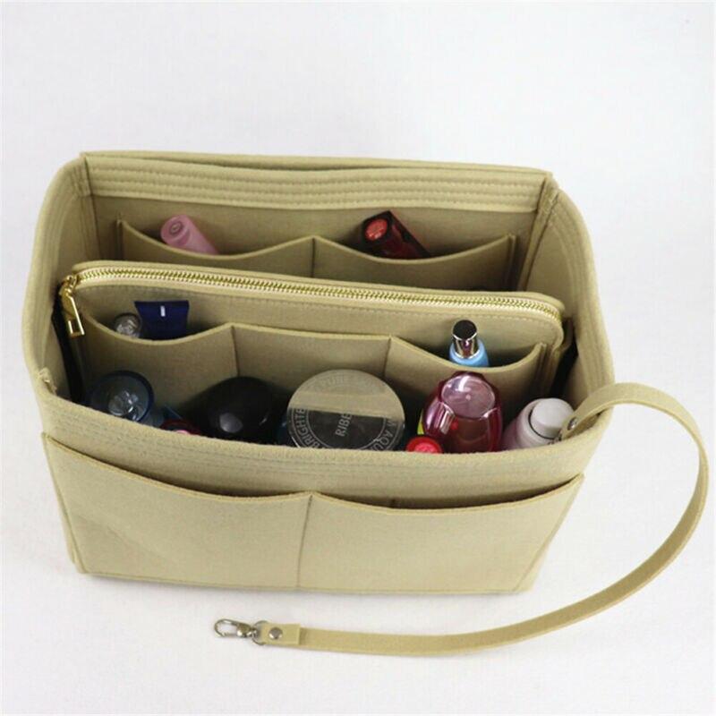 Women Organizer Handbag Felt Travel Bag Insert Liner Purse Organiser Pouch UK