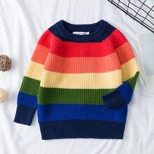 Радужный полосатый Детский свитер с воротником под горло О образным