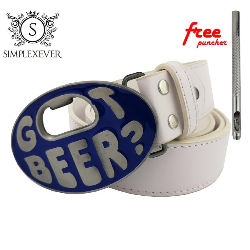 Men's Belt Buckle Got Beer Bottle Opener Belt Buckle 100*65 Mm With Leather Belt And Free Puncher Belt Buckles Dropshipping