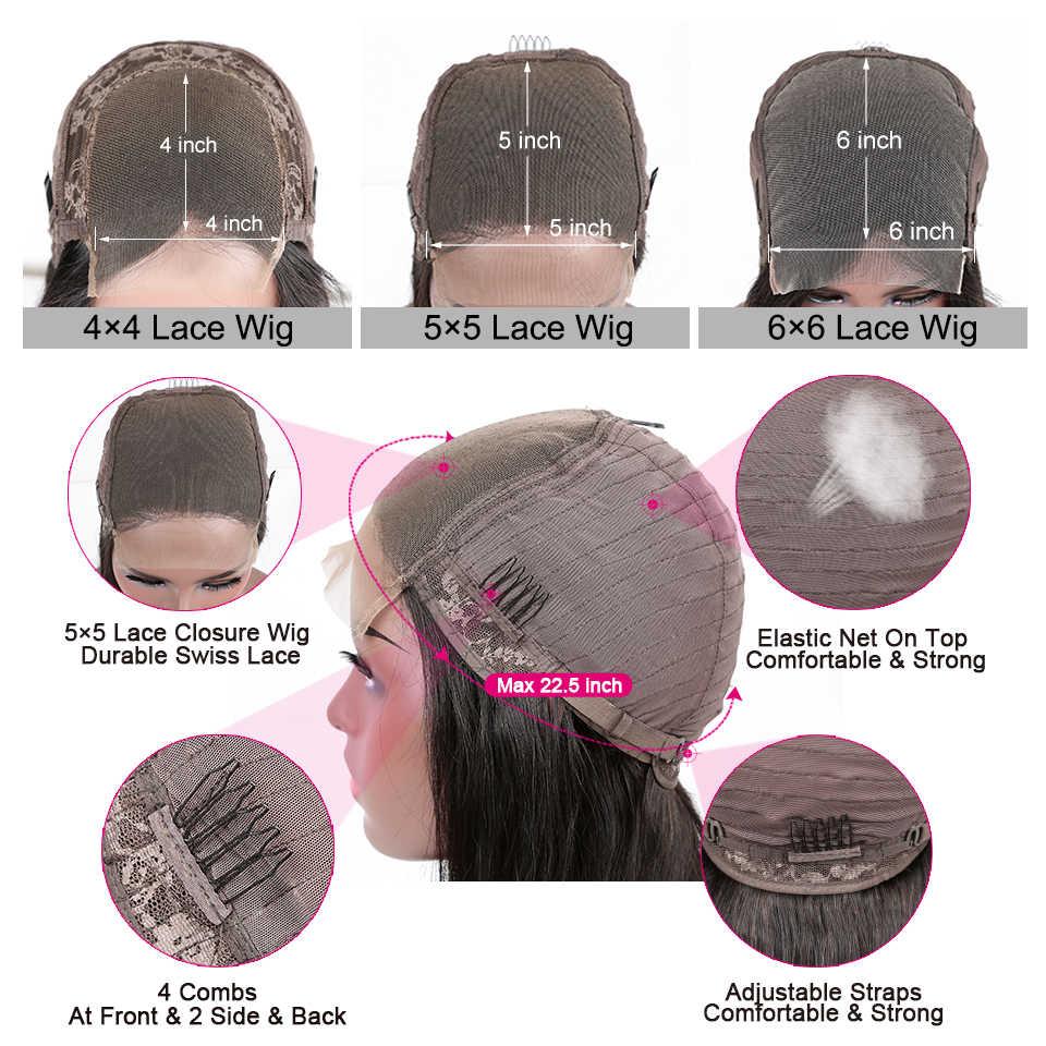 YYong 4x4 Spitze Schließung Perücken Peruanische Gerade Spitze Verschluss Perücken Für Schwarze Frau 6x6 Remy Schließung menschliches Haar Perücke Niedrigen Verhältnis