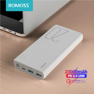 ROMOSS Sense 6+ Power Bank 20000mAh PD3.0 Quick Charge 20000 mAh Powerbank External Battery Charge For iPhone Xiaomi Mi Huawei