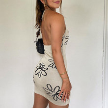 2021 Summer Knitted Bodycon Dress Women Halter Neck Y2K Sexy Sleeveless Beach Vintage Mini Floral Backless Dresses Party