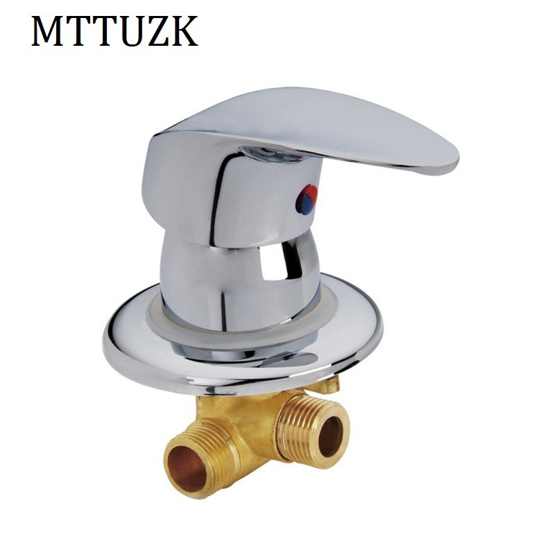 """1//2/"""" Wall Mounted 2 Inlet 1 Outlet Chrome Water Brass Shower Faucet Selector"""