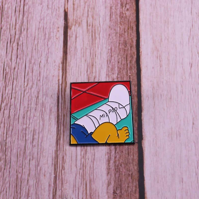 Broche émail Milpool Bart Simpson broche jambe en plâtre piscine Millhouse badge signature bijoux d'amitié