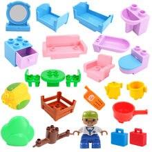 Tamanho grande DIY Blocos de construção Acessórios Home Mobiliário Sofá Cama Banho Compatível com Duploed Brinquedos para Crianças Caçoa o Presente