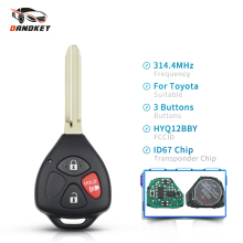 Dankdey 3 Buttons 4D67 Chip HYQ12BBY 314.4Mhz Fob Complete Remote Key For Toyota Rav4 Yaris Venza Scion 2006 2007 2008 2009 2010