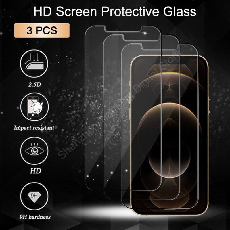 3 pçs vidro protetor protetor de tela de proteção para iphone 11 12 pro max vidro temperado para iphone 6s 7 8 plus x xr xs max se 2020 vidro