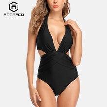 цена на Attraco Swimsuit Women Swimwear Monokini One-piece Backless V-Neck Print Bathing Suit Deep Plunge Beachwear