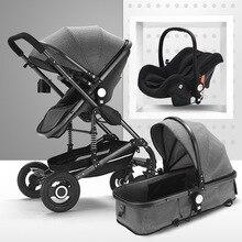 Детская коляска 3 в 1 для новорожденного, детская коляска с высоким пейзажем, детская коляска для 0-36 месяцев, детская коляска, EU RU, Бесплатный налог