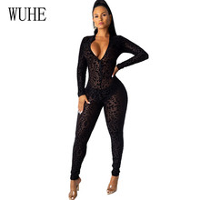 WUHE Sexy Mesh Flocked Leopard Long Sleeve Perspective Jumpsuits Bodycon Playsuits Casual Zipper V Neck Night Party Overalls