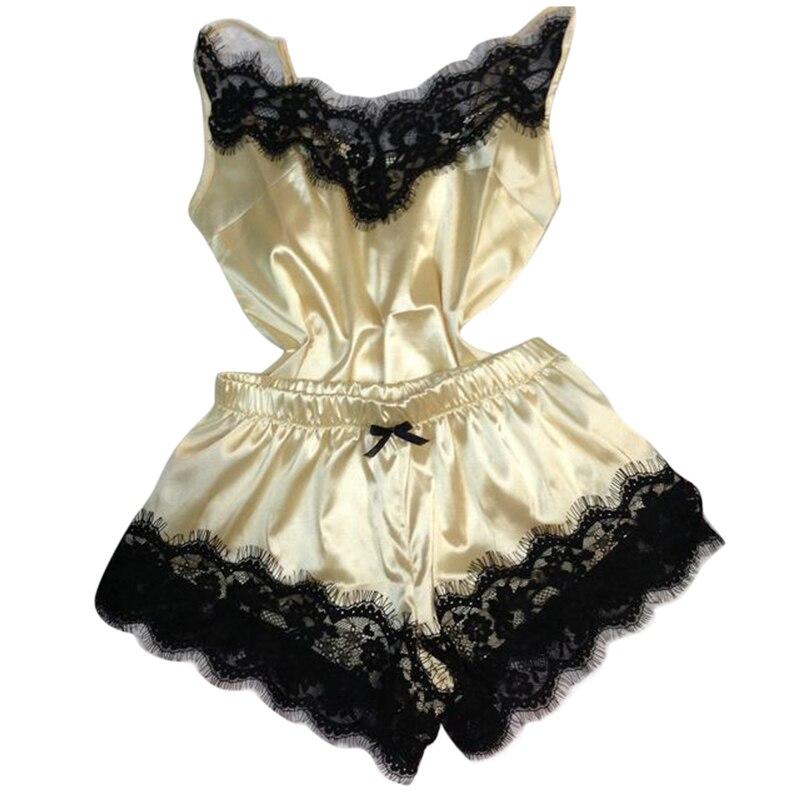 New Separate 2pcs Lace Sleepwear Women Beach Dress Lingerie Night Short Sleeveless Ladies Satin Nightgown Through La Sleepwear 5