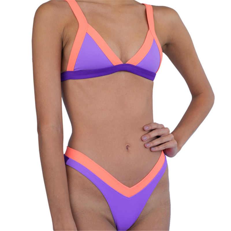 Сексуальный треугольный комплект бикини, новый женский Одноцветный купальный костюм, купальник, летняя пляжная одежда, женский купальник с низкой талией, бикини