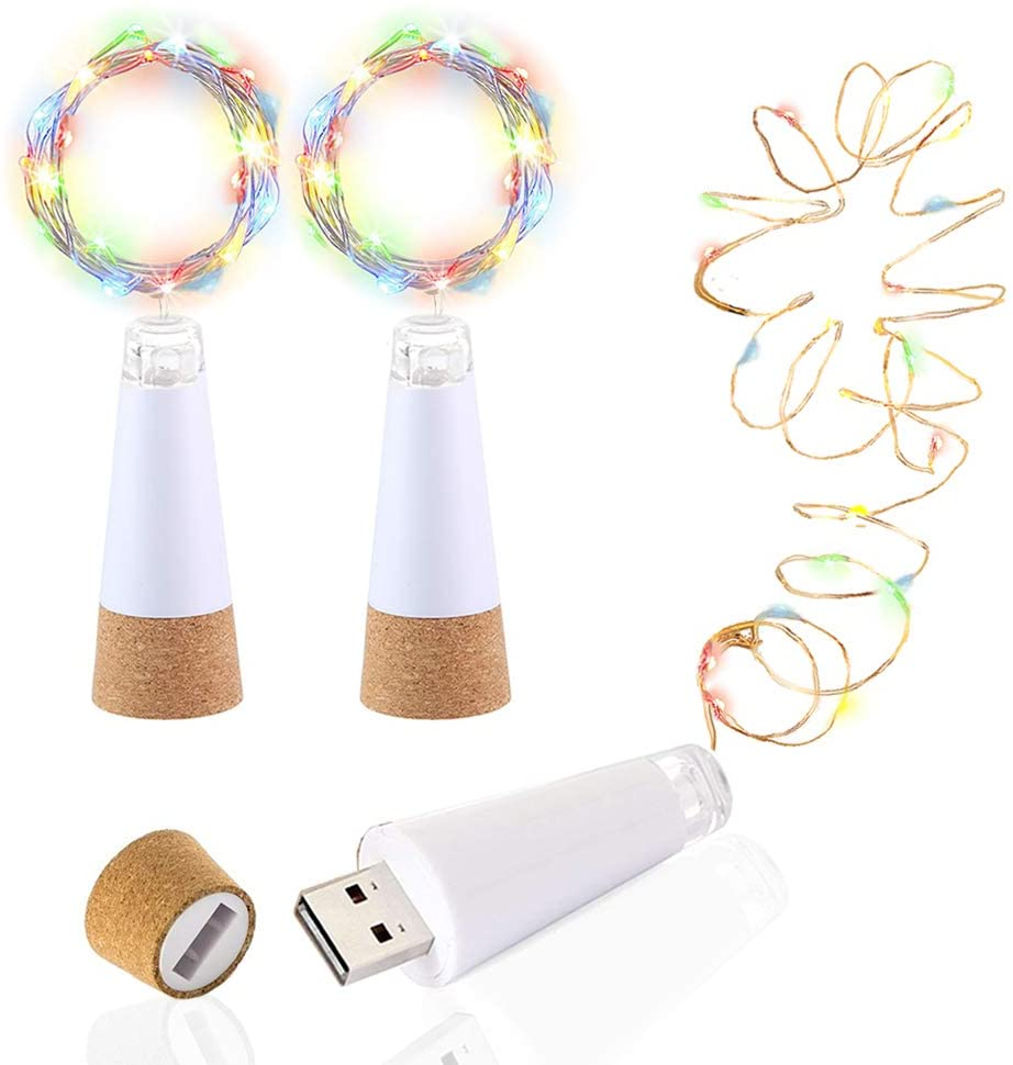 1pcs 15 LEDs Cork Bottle Fairy Lights USB Rechargeable Copper Wire String Lights For Bedroom Room Home Wedding Party Decoration