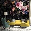 Самоклеящиеся обои на заказ, настенные 3D обои в стиле ретро, с рисунком цветов и роз, для гостиной, спальни, романтического домашнего декора, ...