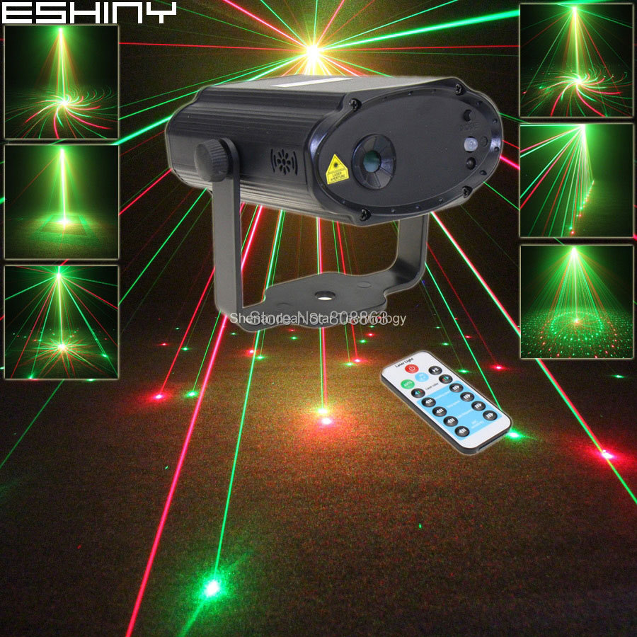 ESHINY Mini R&G Laser Projector 8 Patterns Remote Dance Disco Bar Wedding Family Party Xmas Stage DJ Lighting Light N7H8