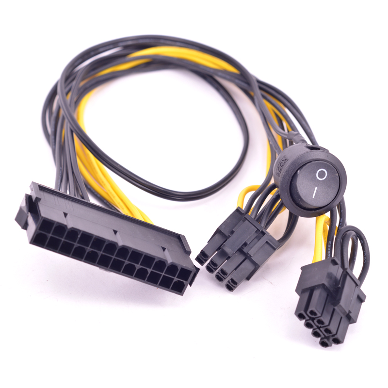24 Pin To Dual 6+2 Pin 8 Pin With On Off Switch Cable ATX 24Pin Female To PCIe Graphics Card 6Pin 8pin Power Supply Cable