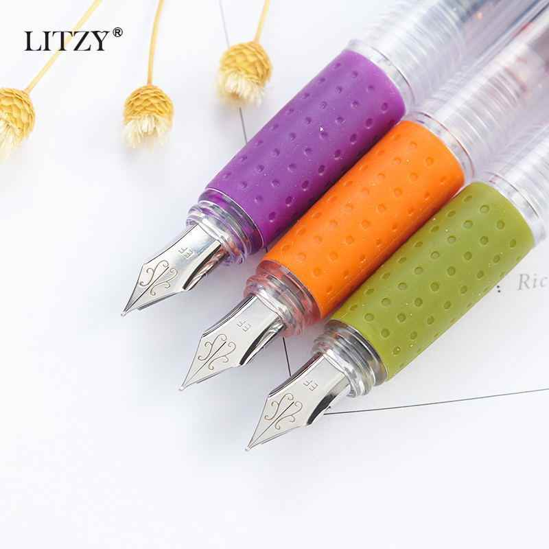 LITZY 1 + 3PcsสีหมึกSacโปร่งใสชุดปากกาน้ำพุEP Nib Fountainปากกาสำนักงานโรงเรียนเครื่องเขียนอุปกรณ์ของขวัญ
