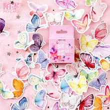 46pcs/pack cute handmade label Butterfly Stickers Decorative Stationery Scrapbooking Diary Album Girls kawaii aesthetic Sticker
