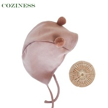 COZINESS Newborn Tire Cap Pure Color Baby Ear Cap Wool Warmable Ball Caps Four Season Adjustable Baby Hats Outing Necessary
