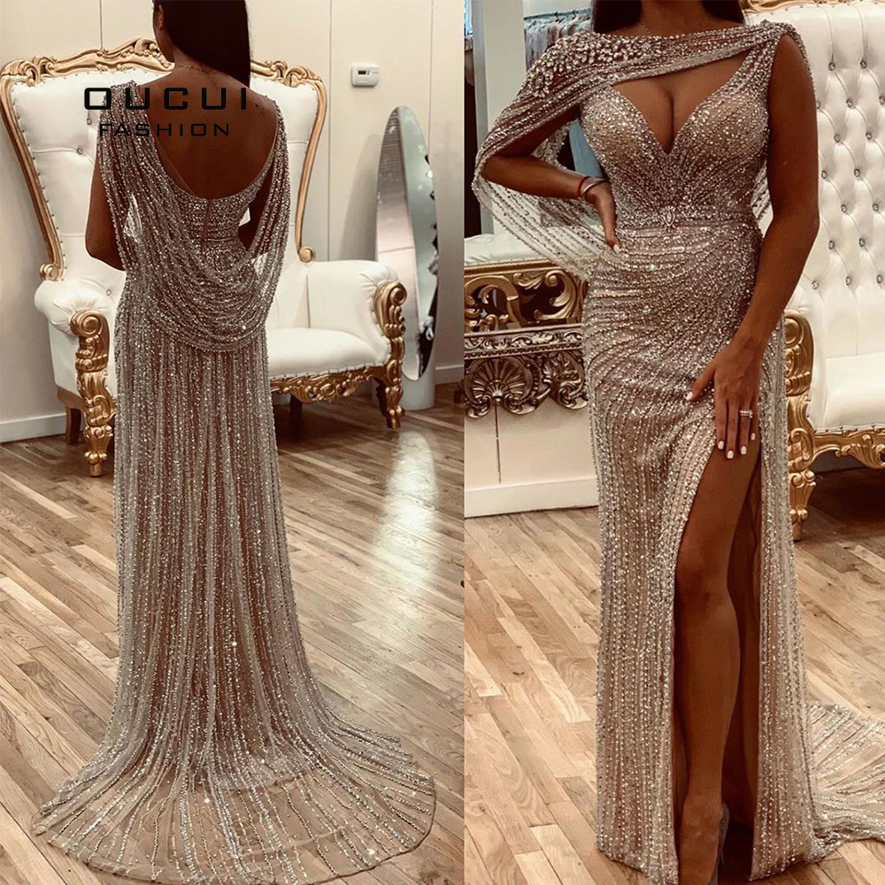 Oucui Real Photo Luxury Champagne Evening Dresses 2020 Diamond Beaded Mermaid Formal Gown Elegant V-neck Sexy Prom Robe OL103670