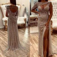 Oucui Real Photo Luxus Champagner Abendkleider 2020 Diamant Perlen Meerjungfrau Formale Kleid Elegante V-ausschnitt Sexy Prom robe OL103670