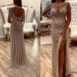 Oucui foto Real lujo vestidos de noche color champán Diamante de 2020 con cuentas, de tipo sirena, formal vestido elegante cuello en V Sexy baile traje OL103670