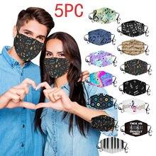5 pçs adulto máscara facial mascarillas música impresso máscara facial moda sem costura boca capa ajustável máscaras de muffle de secagem rápida máscara