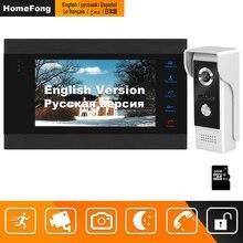 HomeFong וידאו דלת טלפון Wired דלת אינטרקום וידאו ביתי אינטרקום תמיכה תנועה לזהות שיא דלת מצלמה 7 אינץ אינטרקום