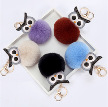 Cute Pompom Owl Keychain pom pom Key Chain Rabbit Fur Ball pompon Porte Clef Fluffy Leather Key Ring accessories Jewelry 2019 hot pompom unicorn keychain colorful fake rabbit fur ball fluffy licorne key chain horse porte clef wome bag car keyring