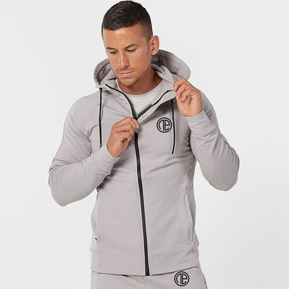 Casual Hoodies Sweatshirt Men Gym Fitness Zipper Sportswear Running Tracksuits Spring New Male Cotton Tops Clothes Hooded Jacket