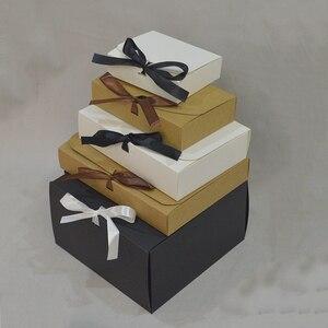 10 шт крафт-бумажная коробка с лентой коробки из крафт-бумаги для упаковки на заказ бумажная Подарочная коробка для подарков большой размер ...