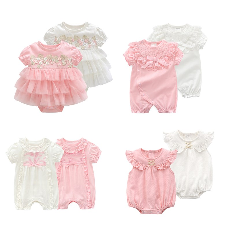 Lawadka Princess Baby Girl Bodysuits Summer Style Bodysuit For Toddlers Lace Newborn 1st Birthday Party Clothes Twin Clothing