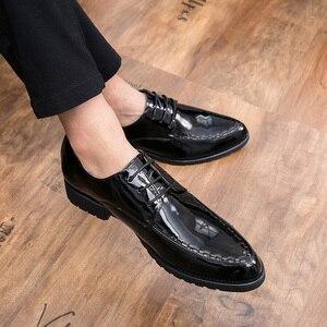 Модная мужская официальная обувь; Кожаные вечерние туфли на шнуровке для офиса; Мужская Свадебная обувь; sapato social scarpe uomo eleganti derbi grimentin
