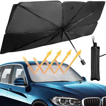 125cm 145cm składana przednia szyba samochodu parasol przeciwsłoneczny parasol samochód UV pokrywa parasolka izolacja cieplna przednie okno ochrona wnętrza tanie i dobre opinie CN (pochodzenie) UPE+Alloy+Cloth XJ191 cloth(silver coating)+steel frame 65X125cm 79X145cm Car sunshade interior umbr