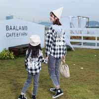 2019 Autumn Winter Family Matching Clothes Plaid Hooded Cardigan Lattice Cardigan Shirt Mother And Daughter Clothes Family Look