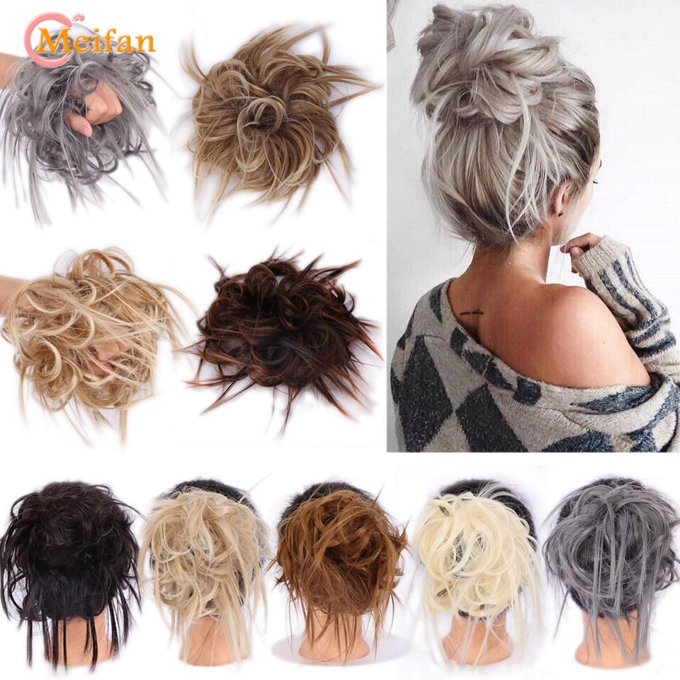 MEIFAN синтетический 7 дюймовый пучок волос вытащанный шиньон эластичная лента шиньон кудрявые волосы для женщин
