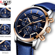 Get more info on the Relogio Masculino 2019 New LIGE Sport Chronograph Mens Watches Top Brand Casual Leather Waterproof Date Quartz Watch Man Clock