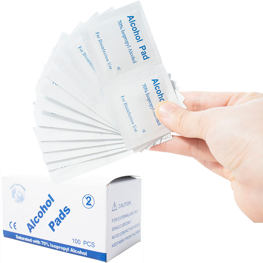 100 Pieces / Box Disposable Alcohol Cotton Sheet Nail Cleaning Disinfection Bag Wipes Sterilize Disinfection Wipes 6 * 3cm
