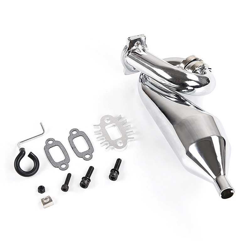 Chrome Resonant Tube Tuned Pipe Exhaust Pipe General for 1/5 HPI Baja 5B Ss 5T 5Sc Rovan King Motor Rc Car Tuned Pipe Exhaust