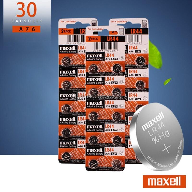 30pcs 1.5V For Maxell Button Cell Battery Lr44 Lithium Coin Batteries A76 AG13 G13A LR44 LR1154 357A SR44 100% Original