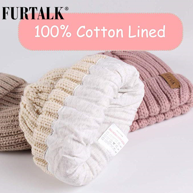 FURTALK Winter Pompom hat for Kids Ages 1-10 Knit Beanie winter baby hat for children fur Pom Pom Hats for girls and boys 3