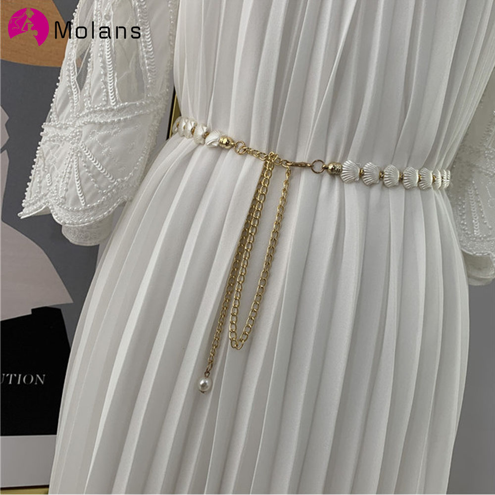 MOLANS 2020 Elegant Tassel  Chain Belt Shell Pearl Metal Women's Dress With Slim Belt Wedding Party Waist Decoration Belt