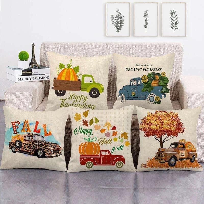 Thanksgiving Harvest Pumpkin Happy Fall Decorative Pillow Case Car Cushion Cover