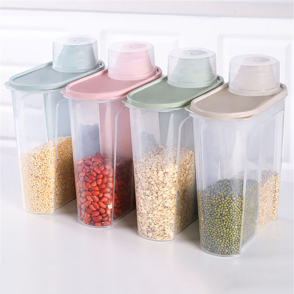 Food Storage Box Plastic Clear Dry Food Container with Pour Lids 2.5L Kitchen Cereal Rice Beans Storage Bottles Jars