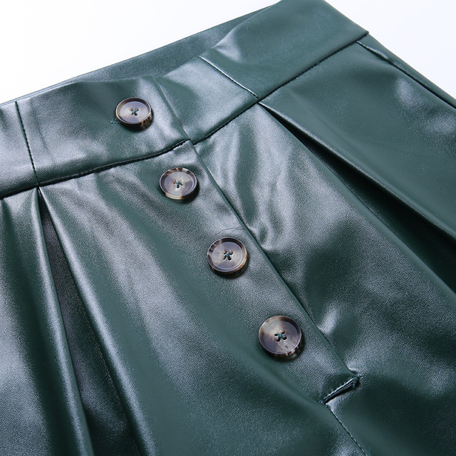 Faux Leather Pants in solid green