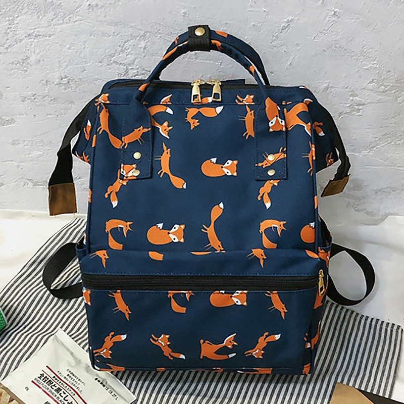 Women Backpack Fashion Fox Pattern Female Backpack School Bag For Girls Harajuku Student Bookbag